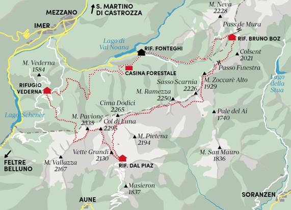 Cartina del percorso ad anello La via del Confine Pacifico