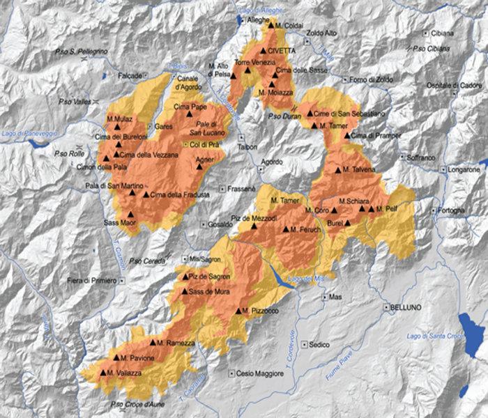 Sistema 3 - Mappa Pale di San Martino (immagine dal sito Dolomiti UNESCO)